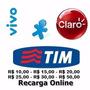 Recarga Celular Crédito Online Tim Claro Vivo R$ 10-15-20-30