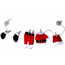 Varal Decorativo Roupas De Papai Noel Mini-pregador Madeira