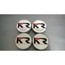 Calota Kr Wheels Prata Para Rodas Esportivas 58mm