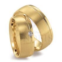 Par Alianças Ouro 18k 0,750 Anatômicas 8mm 14g C/ Diamantes