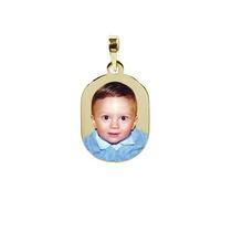 Pingente Ouro C Foto Gravada - Bebê, Filha, Filho, Santa