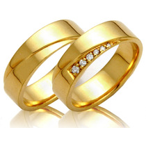 Alianças Ouro 18k 15 Gramas 6mm Brilhantes Casamento Noivado