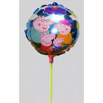 Balão Metalizado Peppa Pig - Kit 5 Unidades - Grátis Hastes