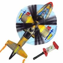 Pipa Raia De Nylon 3d Helicóptero Brinquedo Antigo Carretel