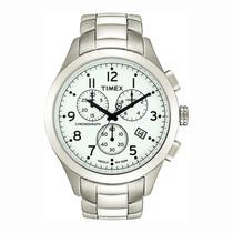 Relogio Timex Ti2m470b Branco Aço Cronografo Calendario Luz