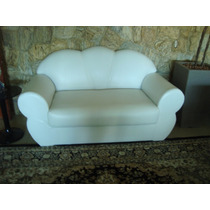 Sofá 2 Lugares Recém Forrado Com Corino Branco