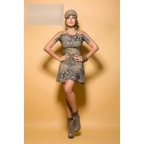 Vestido Com Tule Animal Print - Frete Grátis