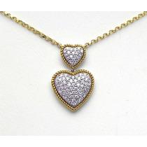Corações De Diamantes Com Corrente,ouro Amarelo E Branco 18k