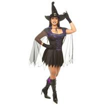 Fantasia Bruxa Com Capa,chapeu,luva Halloween,dia Das Bruxas