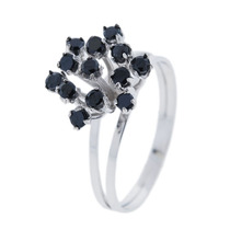Anel Chuveiro Em Ouro Branco Com Diamantes Negros