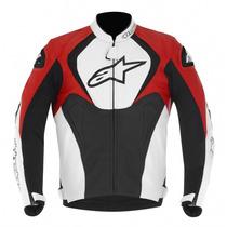 Jaqueta Moto Alpinestars Couro Jaws Pto Brco Vermelha - 52