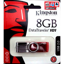 Pen Drive Original 8gb Kingston Dt101 Giratório Usb Lacrado