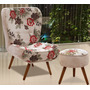 Poltrona Decorativa Tathy Com Puff Pés Palito Sala Cadeira