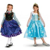 Fantasia Luxo Frozen Disney Elsa / Anna - Tamanhos 4-10 Anos