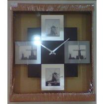 Relógio Porta Retratos De Parede Em Alumínio