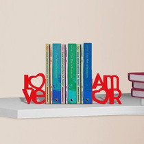 Suporte Aparador De Livros Dvd Cd Decorativo Love Amor