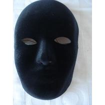 Mascara Sem Face Preta Camurça Carnaval Haloween Festas