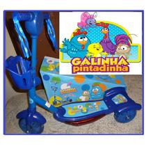 Patinet Infantil 3 Rodas Galinha Pintadinha Azul Luz/musical
