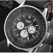 Relógio Grande Jaragar Automático Calendário Pulseira Couro