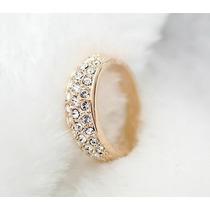 Anel Cristal Austriaco Aro 14 Banhado Em Ouro Rose J1562e