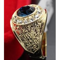 Anel Masculino Aro 28 Banhado Em Ouro Safira E Cristal 1603d