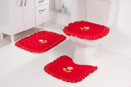 Jogo De Piso De Banheiro 3 Peças Atoalhado à Venda Em