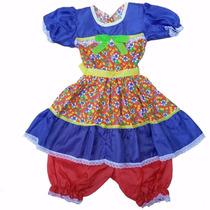 Vestido Infantil Caipira P/ Quadrilha De Festa Junina 1 Ao14