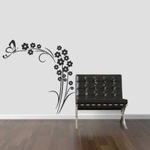 Adesivo Decorativo Parede Sala Quarto Floral Flor Borboleta