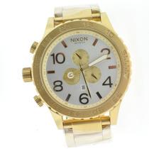 Relógio Nixon 51-30 Dourado Fundo Branco Chrono 12 X Sem Jur