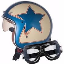 Capacete Zeus 380 Fa +óculos Vintage - Custom- Harley- Drag