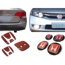 Kit Emblemas Verm Grade Porta Malas E Rodas Honda New Civic