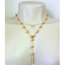 Colar Terço Feminino Cruz Folheado A Ouro 18 K Semi-jóia