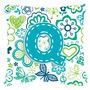 Azul Letra Q Flores E Borboletas Teal Lona Tecido Decorativa
