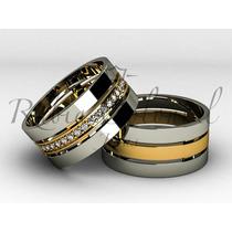 Aliança De Luxo 10 Mm. Diamantes Ouro 18k.
