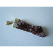 Pingente Amuleto Figa Metal Dourado Pedra Jaspe Marrom P