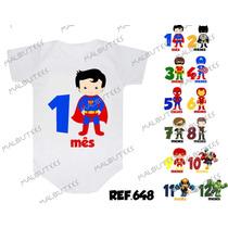Kit 12 Body Infantil Mês A Mês Mesversario Herois Batman