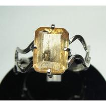 Anel Topazio Imperial Em Prata 950 Lapidação Esmeralda Lindo