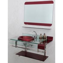 Gabinete Banheiro Vinho/preto 70 Cm + Espelho + Valvula Clic