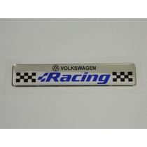 Emblema Volkswagen Racing Cromado E Resinado