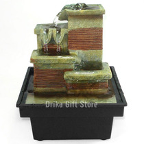 Mini Fonte De Agua Decorativa Cascata De Resina À Pilha