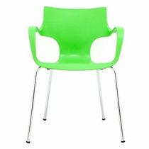 Cadeira Base Aço Assento Em Polipropileno Verde