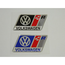 Emblema Volkswagen Racing R Cromado E Resinado