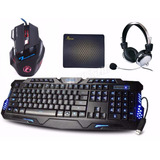 Kit Gamer Teclado 3 Led  + Mouse 2400 Dpi Led + Fone Headset