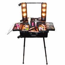 Maleta Maquiagem Camarim Profissional C/ Rodinha Espelho Luz