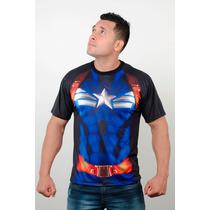 Camisetas Super Heróis Capitão América Uniforme Dry Fit