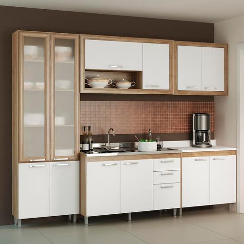 Cozinha Compacta 5048 Toscana Siena Móveis Argila / branco