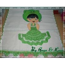 Pano De Prato / Guardanapo Meninas Com Crochê