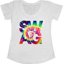 Baby Look Manga Curta Feminina T-shirt Swag Tie Die