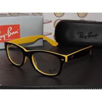 Armação Oculos Grau Rb5228 Wayfarer Amarelo E Preto Rayban