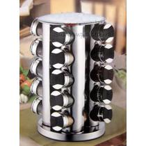 Porta Temperos Em Inox C/ Base Giratória 20 Potes De Vidro